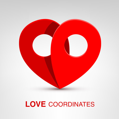coordinates: Love coordinates - creative Valentines Day heart concept Illustration