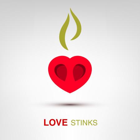 stinks: Love stinks - creative Valentines Day heart concept Illustration