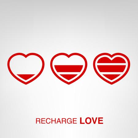 장 전기: Love charger - creative Valentines Day heart concept