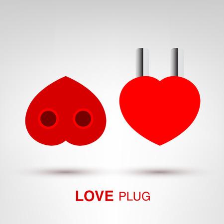 plug socket: Love Plug - creative Valentines Day heart-shaped plug and socket concept vector illustration Illustration