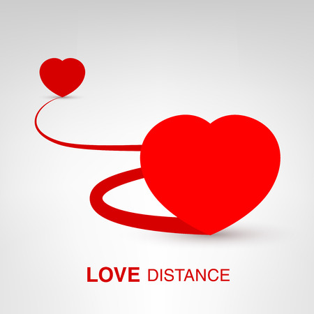 Love Distance - creative Valentines Day heart concept vector illustration