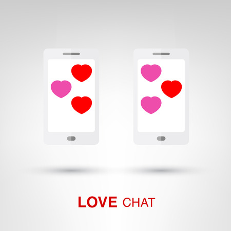 Love Chat - creative Valentines Day two smartphones with heart-shaped bubbles concept vector illustration Vector