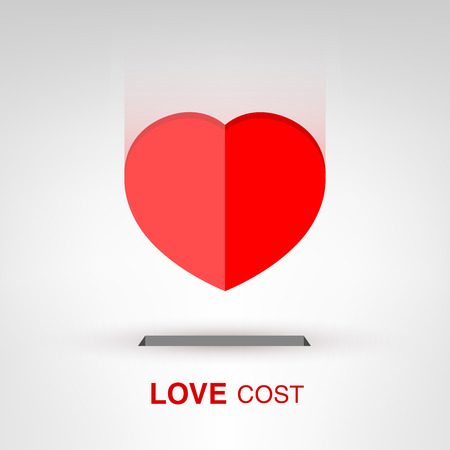 heartshaped: Love Cost - creative Valentines Day heart-shaped coin concept vector illustration Illustration