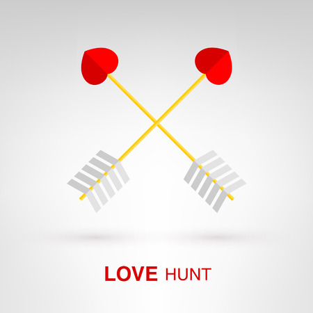 Love Hunt - creative Valentines Day heart-shaped arrows concept Vector