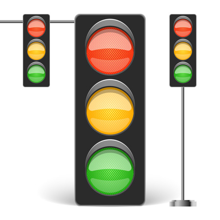Three types of traffic light isolated on white vector illustration