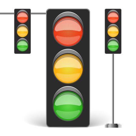 señal de transito: Tres tipos de semáforo aislado en blanco ilustración vectorial