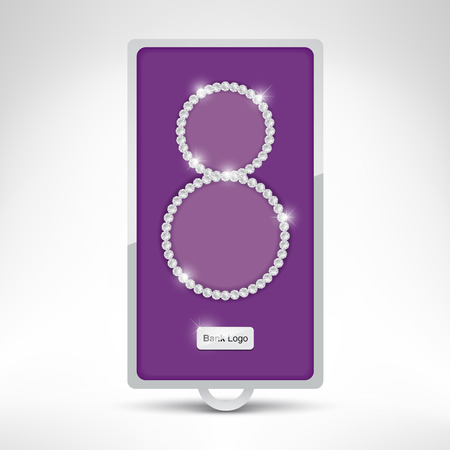 bank deposit: International woman day the 8th of March. Diamond necklace in a bank deposit box illustration