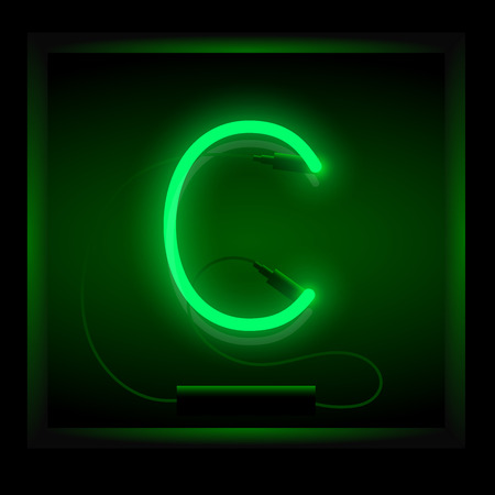 symol: Realistic neon letter C vector illustration. Glowing font. Green light.