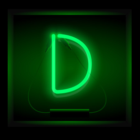 symol: Realistic neon letter D vector illustration. Glowing font. Green light.