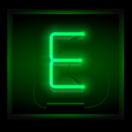symol: Realistic neon letter E vector illustration. Glowing font. Green light.