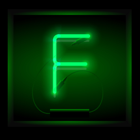symol: Realistic neon letter F vector illustration. Glowing font. Green light.