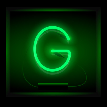 symol: Realistic neon letter G vector illustration. Glowing font. Green light. Illustration