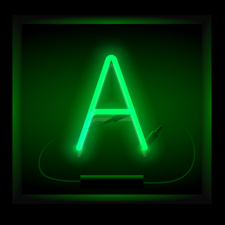 Realistic neon letter A vector illustration. Glowing font. Green light.