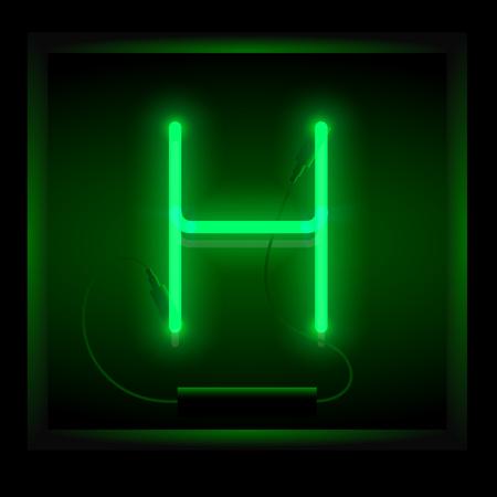symol: Realistic neon letter H vector illustration. Glowing font. Green light. Illustration