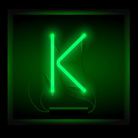 symol: Realistic neon letter K vector illustration. Glowing font. Green light.