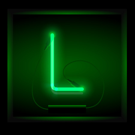 symol: Realistic neon letter L vector illustration. Glowing font. Green light.