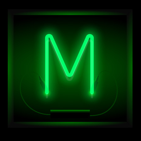 symol: Realistic neon letter M vector illustration. Glowing font. Green light.