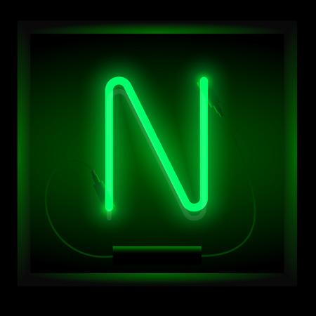 symol: Realistic neon letter N vector illustration. Glowing font. Green light. Illustration