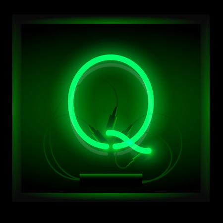 symol: Realistic neon letter Q vector illustration. Glowing font. Green light.