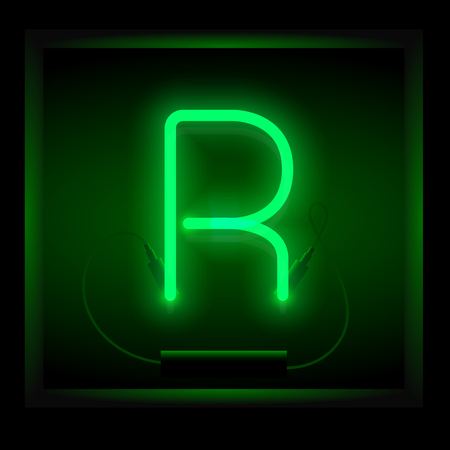symol: Realistic neon letter R vector illustration. Glowing font. Green light.