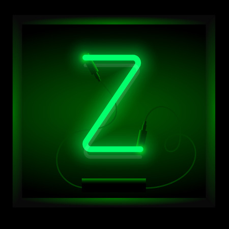 symol: Realistic neon letter Z vector illustration. Glowing font. Green light. Stock Photo