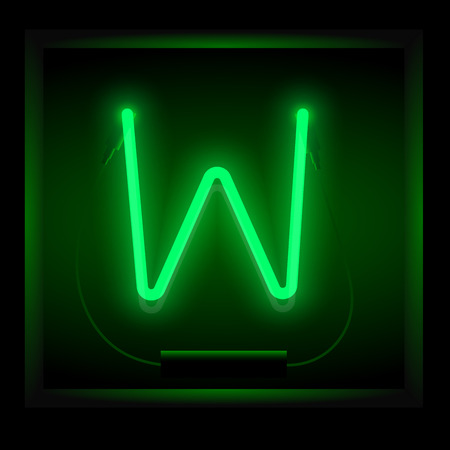 symol: Realistic neon letter W vector illustration. Glowing font. Green light.