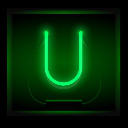 symol: Realistic neon letter U vector illustration. Glowing font. Green light.