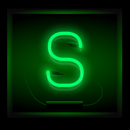 symol: Realistic neon letter S vector illustration. Glowing font. Green light.
