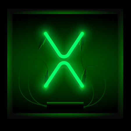 symol: Realistic neon letter X vector illustration. Glowing font. Green light.