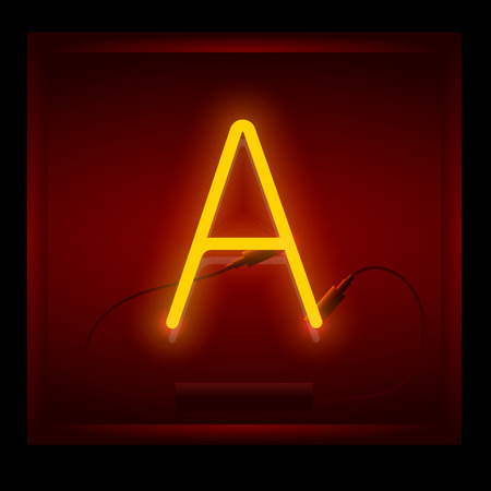 symol: Realistic neon letter A vector illustration. Glowing font. Red light.