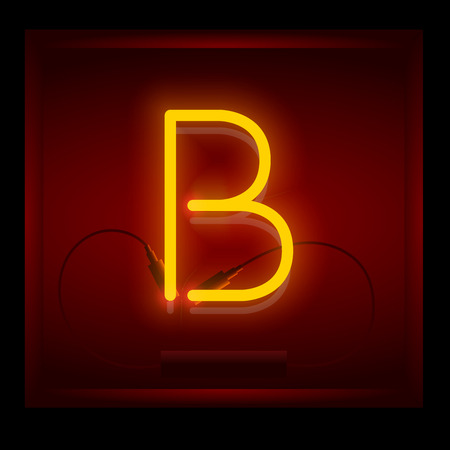 symol: Realistic neon letter B vector illustration. Glowing font. Red light.