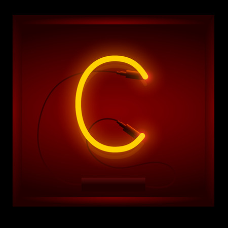 symol: Realistic neon letter C vector illustration. Glowing font. Red light.