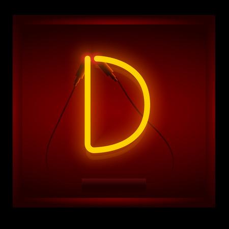 symol: Realistic neon letter D vector illustration. Glowing font. Red light. Illustration