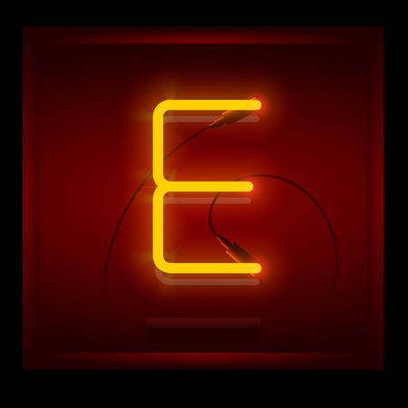 symol: Realistic neon letter E vector illustration. Glowing font. Red light.