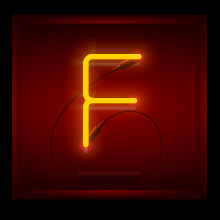symol: Realistic neon letter F vector illustration. Glowing font. Red light.