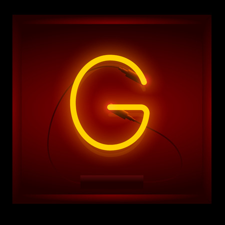 symol: Realistic neon letter G vector illustration. Glowing font. Red light.