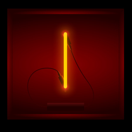 symol: Realistic neon letter I vector illustration. Glowing font. Red light. Illustration