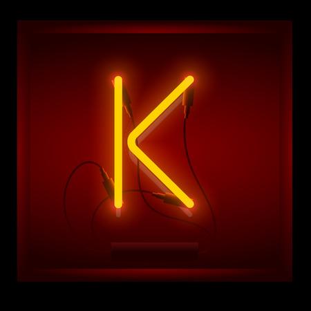 symol: Realistic neon letter K vector illustration. Glowing font. Red light. Illustration