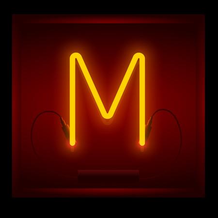 symol: Realistic neon letter M vector illustration. Glowing font. Red light. Illustration