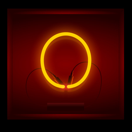symol: Realistic neon letter O vector illustration. Glowing font. Red light.