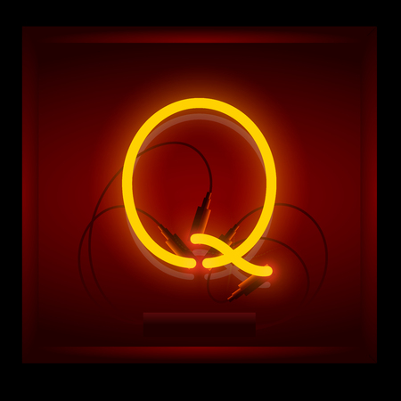 symol: Realistic neon letter Q vector illustration. Glowing font. Red light.