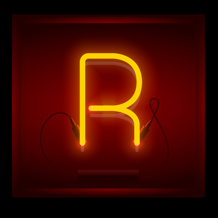 symol: Realistic neon letter R vector illustration. Glowing font. Red light.