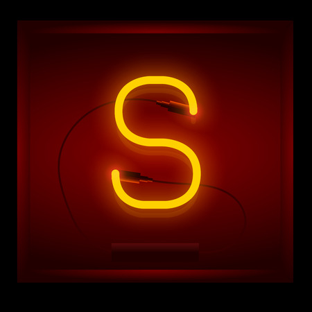 symol: Realistic neon letter S vector illustration. Glowing font. Red light.