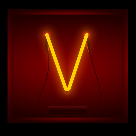 Realistic neon letter V vector illustration. Glowing font. Red light.