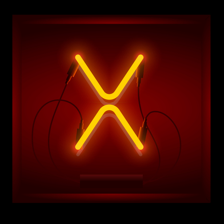 symol: Realistic neon letter X vector illustration. Glowing font. Red light.