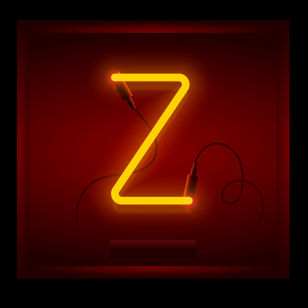 symol: Realistic neon letter Z vector illustration. Glowing font. Red light.