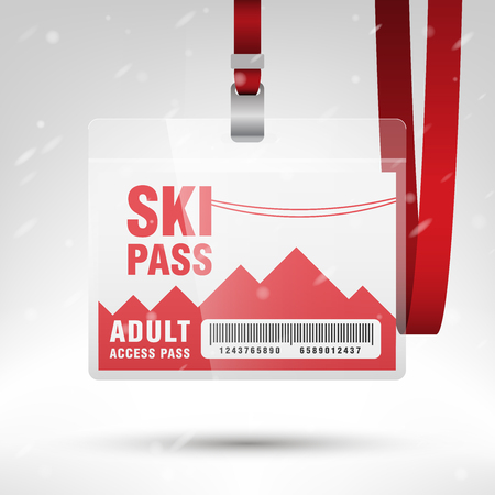 lanyard: Ski pass vector illustration. Blank ski pass template with barcode in plastic holder with red lanyard. Lift cable, mountains and snow on the background. Horizontal layout.