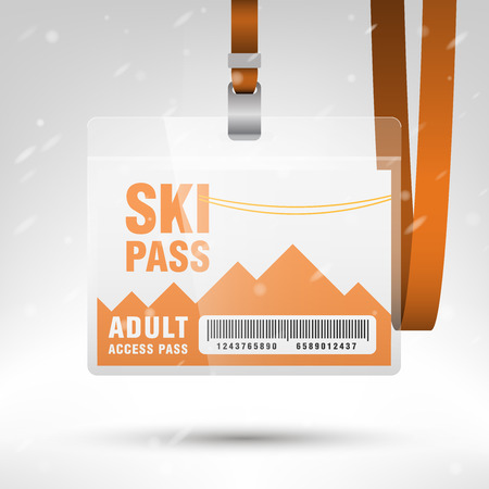 lanyard: Ski pass vector illustration. Blank ski pass template with barcode in plastic holder with orange lanyard. Lift cable, mountains and snow on the background. Horizontal layout. Illustration
