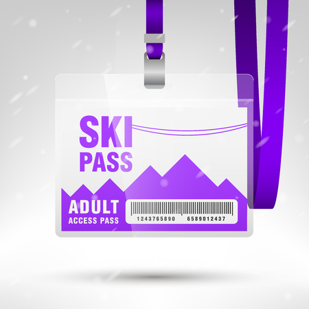 mountain pass: Ski pass vector illustration. Blank ski pass template with barcode in plastic holder with violet lanyard. Lift cable, mountains and snow on the background. Horizontal layout. Illustration