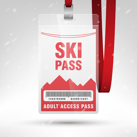 Ski pass vector illustration. Blank ski pass template with barcode in plastic holder with red lanyard. Lift cable, mountains and snow on the background. Vertical layout. Illustration